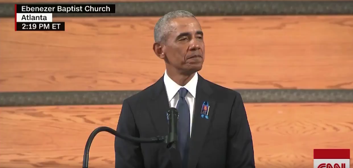 Watch: Obama Plays President, Uses Funeral To Launch A New Bill & Pushes Conspiracy